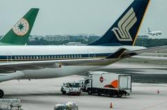 Singapore flygbolag på Changi flygplatsterminal 1 Arkivbild