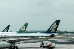 Singapore flygbolag på Changi flygplatsterminal 1 Royaltyfri Fotografi