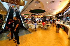 Singapore: Food court. A food court in Asia-Pacific also called food hall[1] is generally an indoor plaza or common area within a facility that is contiguous stock photos