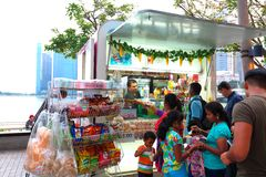 Singapore : Food kiosk along water front at the esplanade Stock Photo