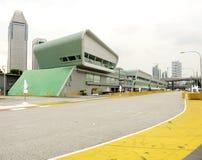 Singapore formel en Pit Lane Boxes Arkivbilder