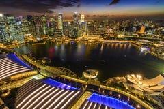Singapore från himmel parkerar, Marina Bay Sand arkivfoton
