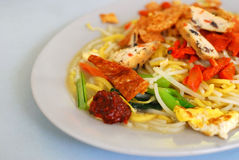 Singapore fried noodles. Singapore local delicacy of fried noodles. Suitable for concepts such as diet and nutrition, healthy lifestyle, and food and beverage stock photo