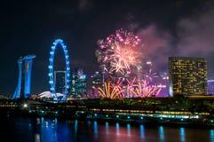 2017-07-15 Singapore fyrverkeri Arkivfoton