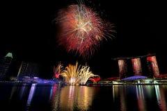Singapore fyrverkerier Royaltyfri Bild