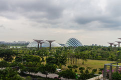 Singapore. Gardens by the Bay. View From Bridge Spanning 101 hectares of reclaimed land in central Singapore, adjacent to the Marina Reservoir Royalty Free Stock Photo