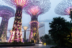 Singapore. Gardens by the Bay. Marina Bay Sands Spanning 101 hectares of reclaimed land in central Singapore, adjacent to the Marina Reservoir Royalty Free Stock Images