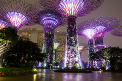 Singapore. Gardens by the Bay. Marina Bay Sands. Heavy rain. Spanning 101 hectares of reclaimed land in central Singapore, adjacent to the Marina Reservoir Stock Photography