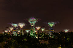 Singapore. Gardens by the Bay. Supertrees Grove Spanning 101 hectares of reclaimed land in central Singapore, adjacent to the Marina Reservoir Royalty Free Stock Images