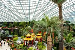 Free Singapore. Gardens By The Bay Flower Dome With Chinese New Year Colorful Decorations, Lanterns, Chinese Huts And Green Plants. Stock Image - 192163951