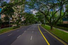 SINGAPORE, SINGAPORE - 30 GENNAIO 2018: Vista splendida delle automobili che circuling in un circondare della strada degli alberi Fotografie Stock Libere da Diritti