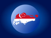 Singapore globe. Map and flag of Singapore globe illustration Stock Images