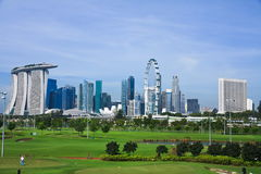 Green lawn and high rise-Singapore Royalty Free Stock Photography