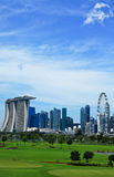 Green lawn and high rise-Singapore Stock Image