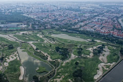 Singapore golf course aerial view Royalty Free Stock Photo