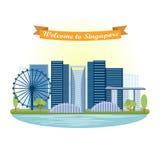 Singapore gränsmärke attractor stock illustrationer