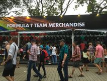 Singapore Grand Prix F1 2015 merchandise stalls. Royalty Free Stock Photos