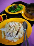 Singapore Hainanese chicken rice street food. A photograph showing a local traditional cuisine dish of Hainan style Chicken rice, delicious tasty chicken meat stock photo