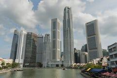 Singapore hamn med floden och terrasserna Arkivbilder