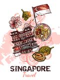 Singapore Hand Drawn Sketch Poster. With flag of republic buddha tooth relic temple and marina bay sands icons vector illustration royalty free illustration