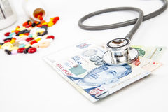 Singapore Health Insurance. Concept with stethoscope on money  on white Stock Photography