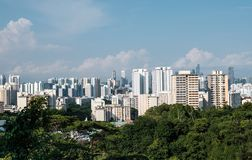 Singapore high density residential area skyline aerial view. Singapore high density residential area skyline in forest stock photo