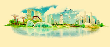Singapore. High resolution panoramic watercolour image illustration of singapore Royalty Free Stock Photos