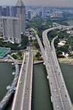 Singapore Highway. View from top of marina bay sand resort hotel Stock Images