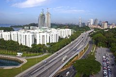 Singapore highway - view from cable car Stock Images