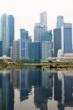 Singapore horisont av affärsområdet Arkivfoton
