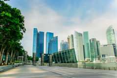 Singapore horisont, marinafjärdsander Royaltyfri Foto