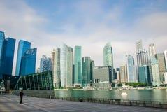 Singapore horisont, marinafjärdsander Arkivfoton