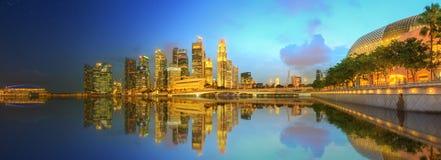 Singapore horisont och sikt av Marina Bay Fotografering för Bildbyråer
