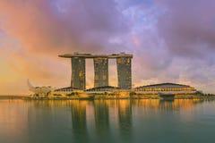 Singapore horisont och sikt av Marina Bay Royaltyfri Bild