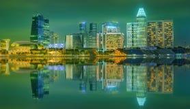 Singapore horisont och sikt av Marina Bay Arkivfoton