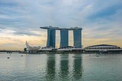 Singapore horisont och sikt av Marina Sand Bay Arkivbilder