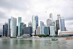 Singapore horisont och skyskrapor Arkivfoton