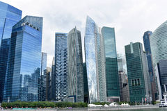Singapore horisont och skyskrapor Arkivbild