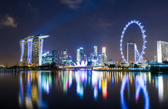Singapore horisont på natten Royaltyfri Bild