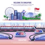 Singapore Horizontal Banners. With modern metropolis architecture and autonomous unmanned vehicles and headline welcome to singapore  vector illustration Stock Photography