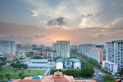 Singapore Housing Estate with Community Center. At Sunset Royalty Free Stock Image