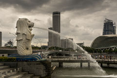 Singapore icon, the merlion. Against a cloudy sky Royalty Free Stock Photo