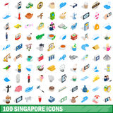 100 singapore icons set, isometric 3d style. 100 singapore icons set in isometric 3d style for any design vector illustration Royalty Free Stock Images