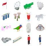 Singapore icons set, isometric 3d style Stock Photos