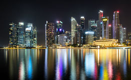 Singapore illuminated by night Stock Photo