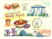 Singapore illustration Royaltyfria Bilder