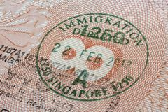 Singapore immigration stamp Royalty Free Stock Photography
