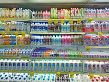 Singapore: Imported dairy product on display. Singapore . A variety of imported dairy product on display refrigerated shelf royalty free stock photo
