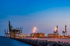 Singapore Industrial port dusk, Logistic concept. Singapore Industrial port dusk, Container Industrial Port, Harbor in Singapore, Logistic concept Stock Photo