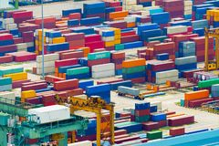 Overloaded Singapore industrial transportation port Royalty Free Stock Images